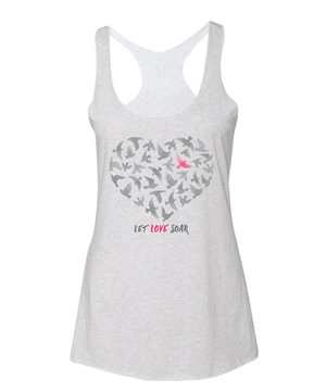 Lolly Dagger Gray and Pink Birds Gray Tank Top Front