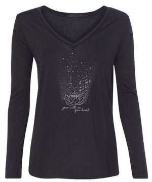 Lolly Dagger Grow with an Open Heart Lotus Flower Black Long Sleeve Front