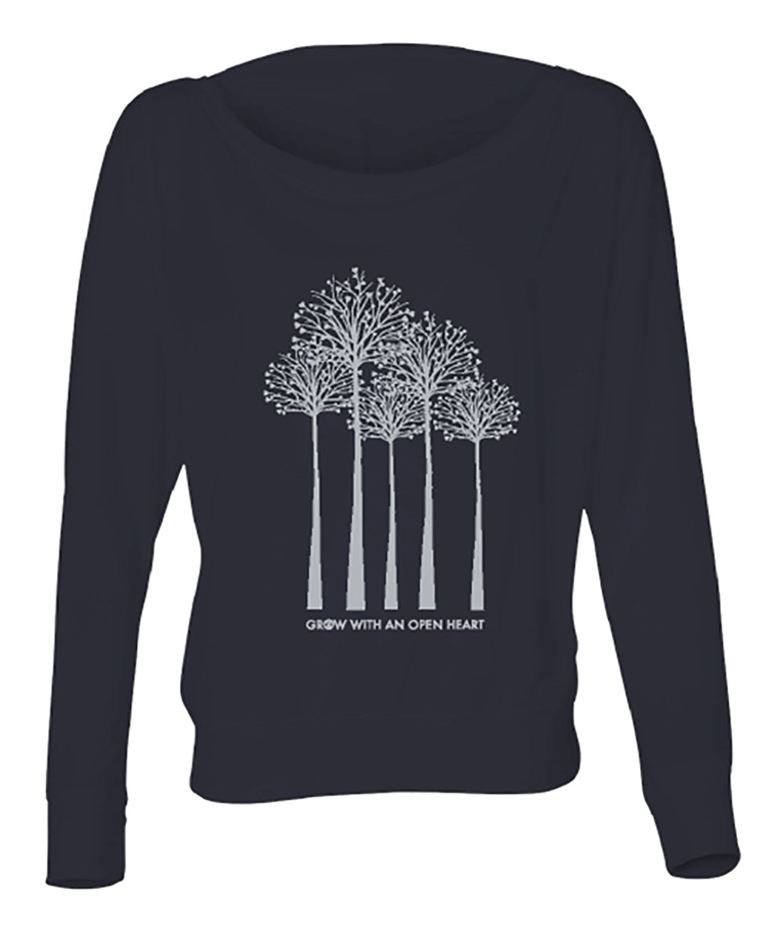 Dagger Model Grow with an Open Heart Trees Navy Long Sleeve Front