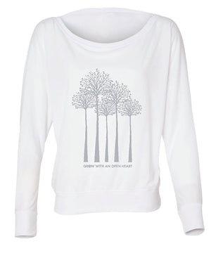 Lolly Dagger Model Grow with an Open Heart Trees White Long Sleeve Front