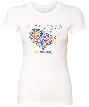 Lolly Dagger Multi-Colored Birds White Tee Shirt Front