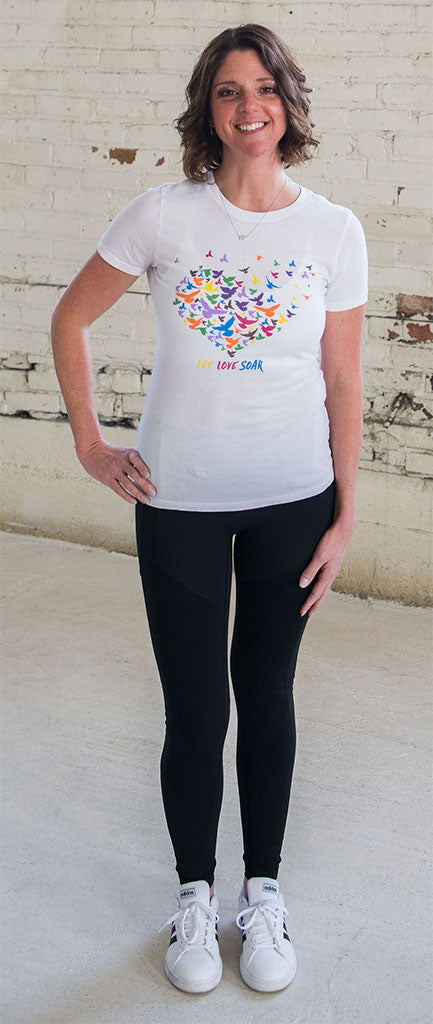 Lolly Dagger Multi-Colored Birds White Tee Shirt Model