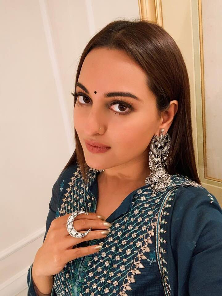 Sonakshi Sinha in Mirror-work Jhumkis