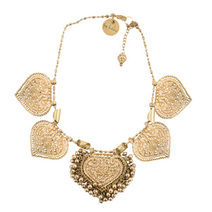 Gold Paan & Crescent Necklace