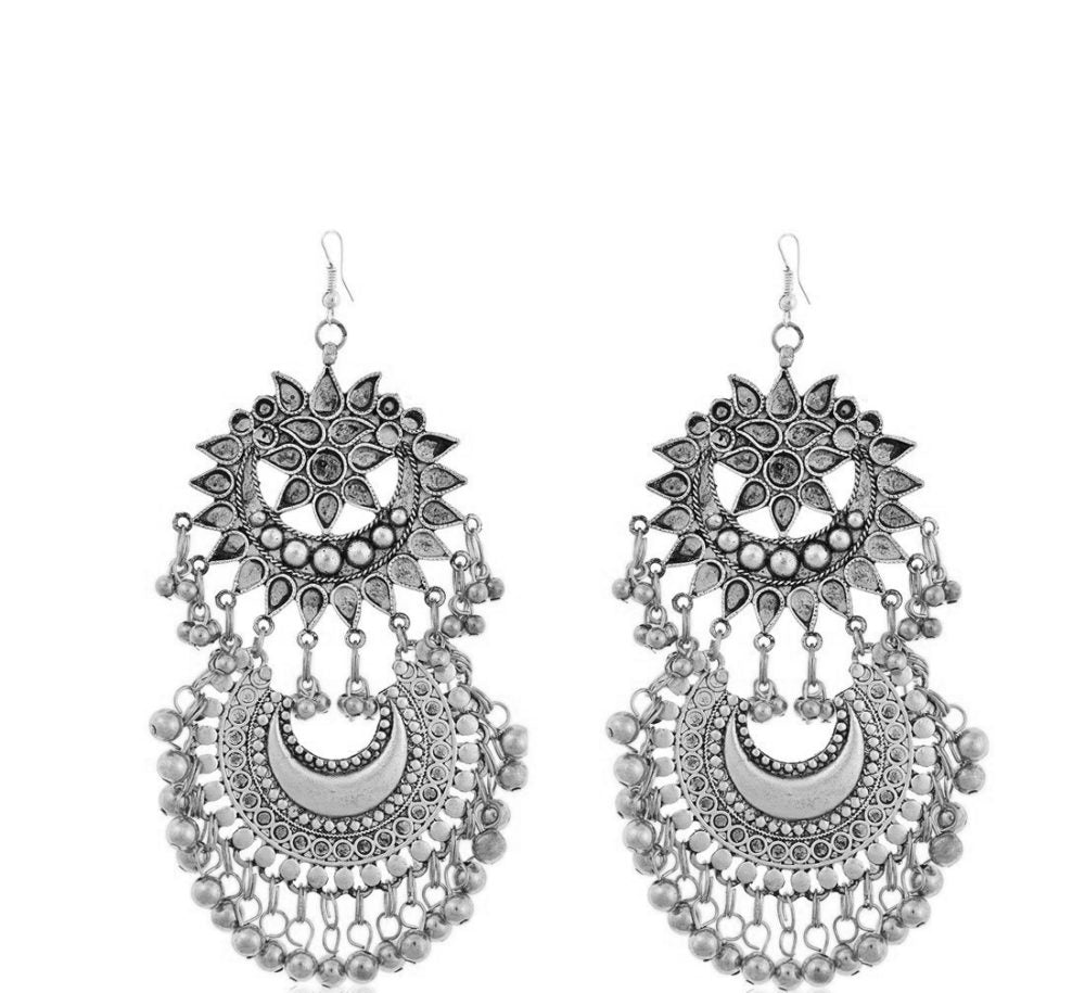 Silver Cutwork & Crescent Earrings