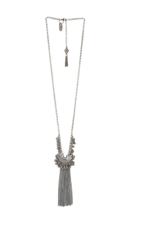 Silver Baby Crescent Fringe Necklace