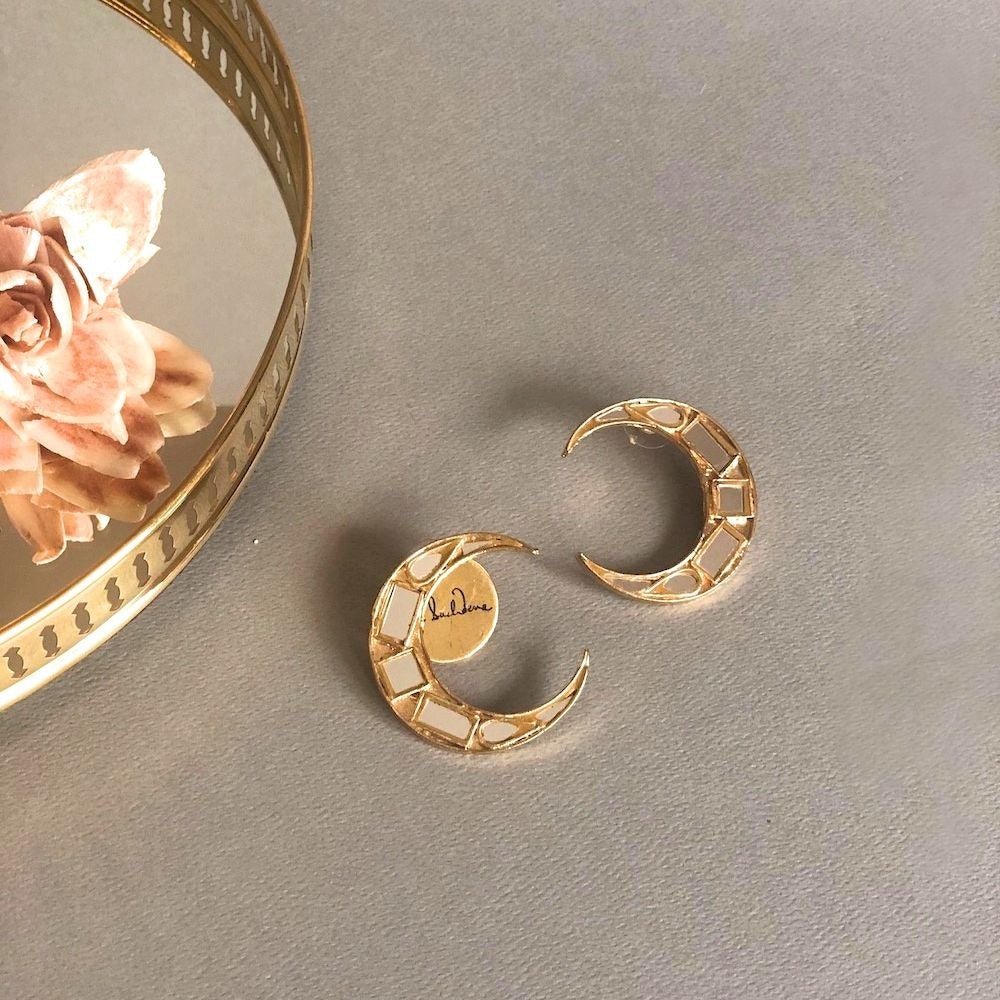 Gold Small Crescent Mirror Earrings