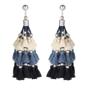 Blue Shaded Tassle Earrings