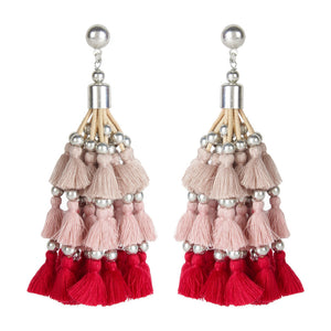Pink Shaded Tassel Earrings
