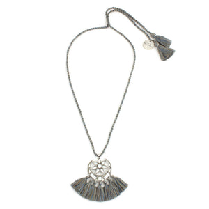 Grey Small Mirror Tassle Necklace