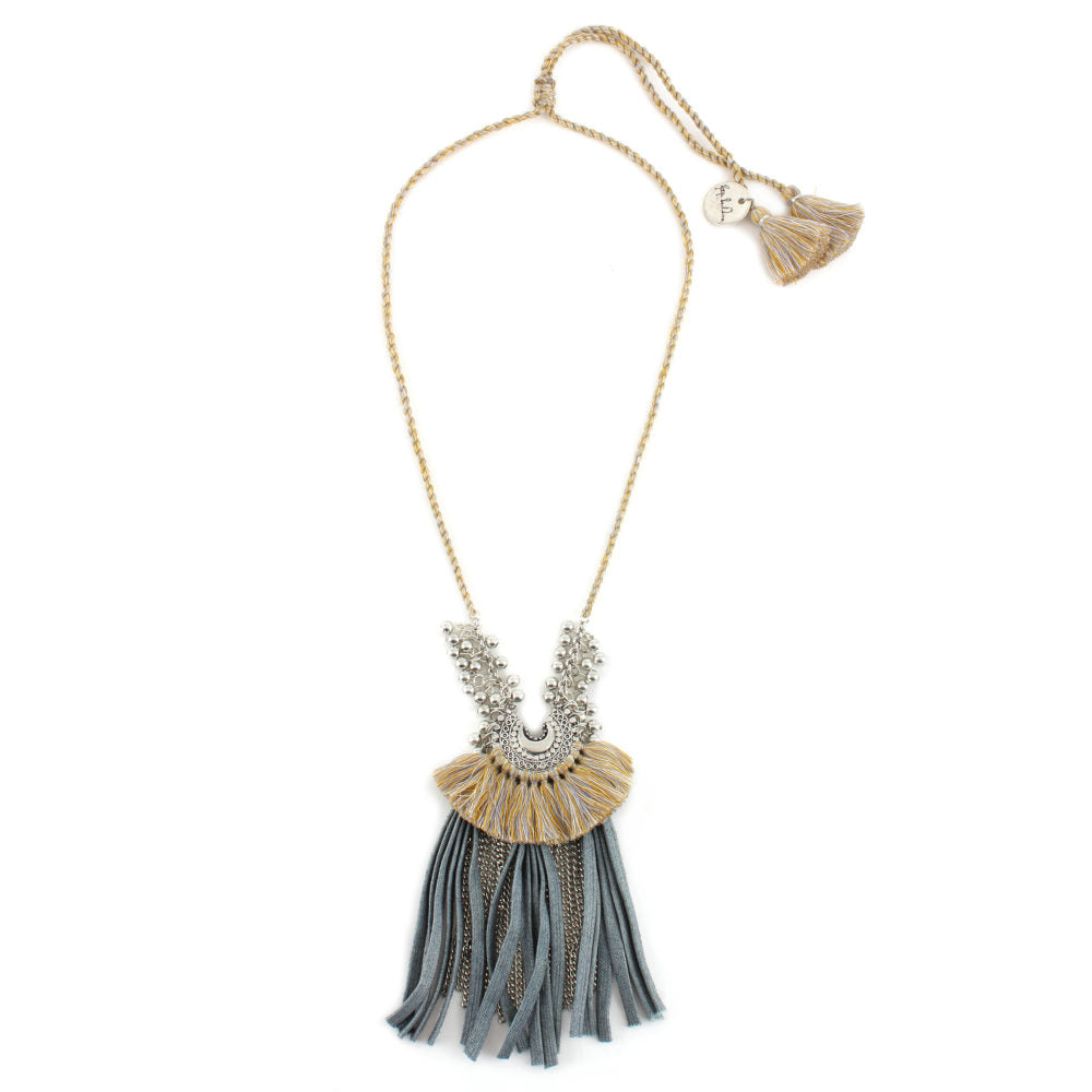 Baby Crescent Necklace with Fringe