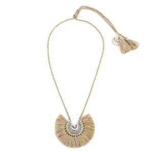 Cream Tassel Baby Crescent Necklace