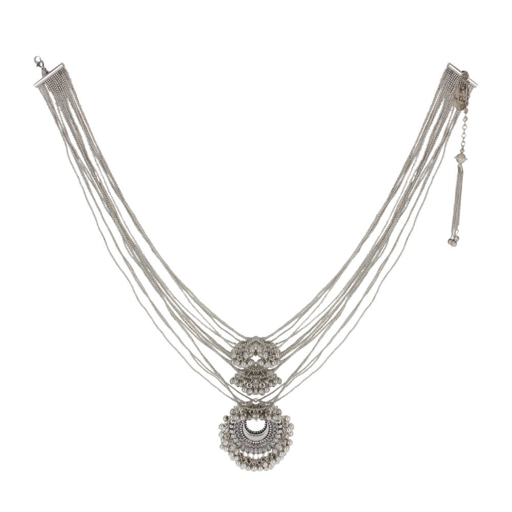 Silver Big Crescent With Ghungroo Necklace