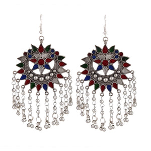 Multi Colour Cutwork Ghungroo Earrings