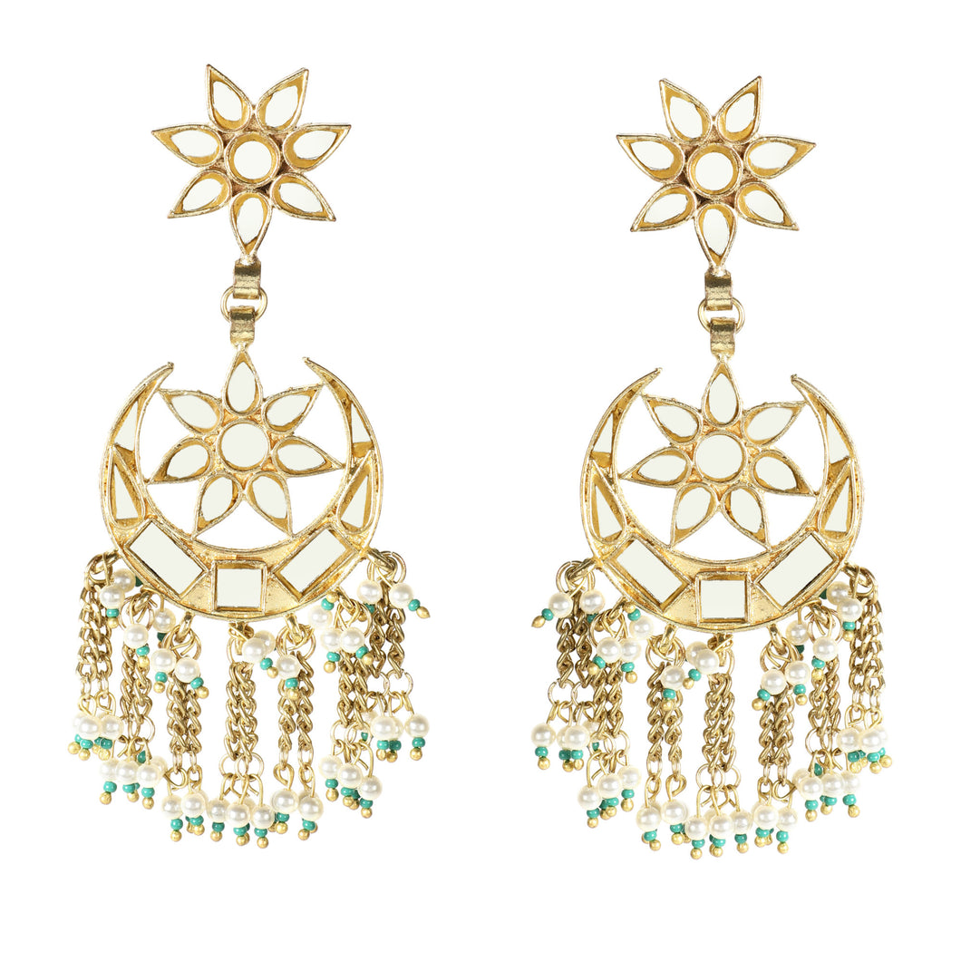 Star & Moon Gold Fringe Earrings