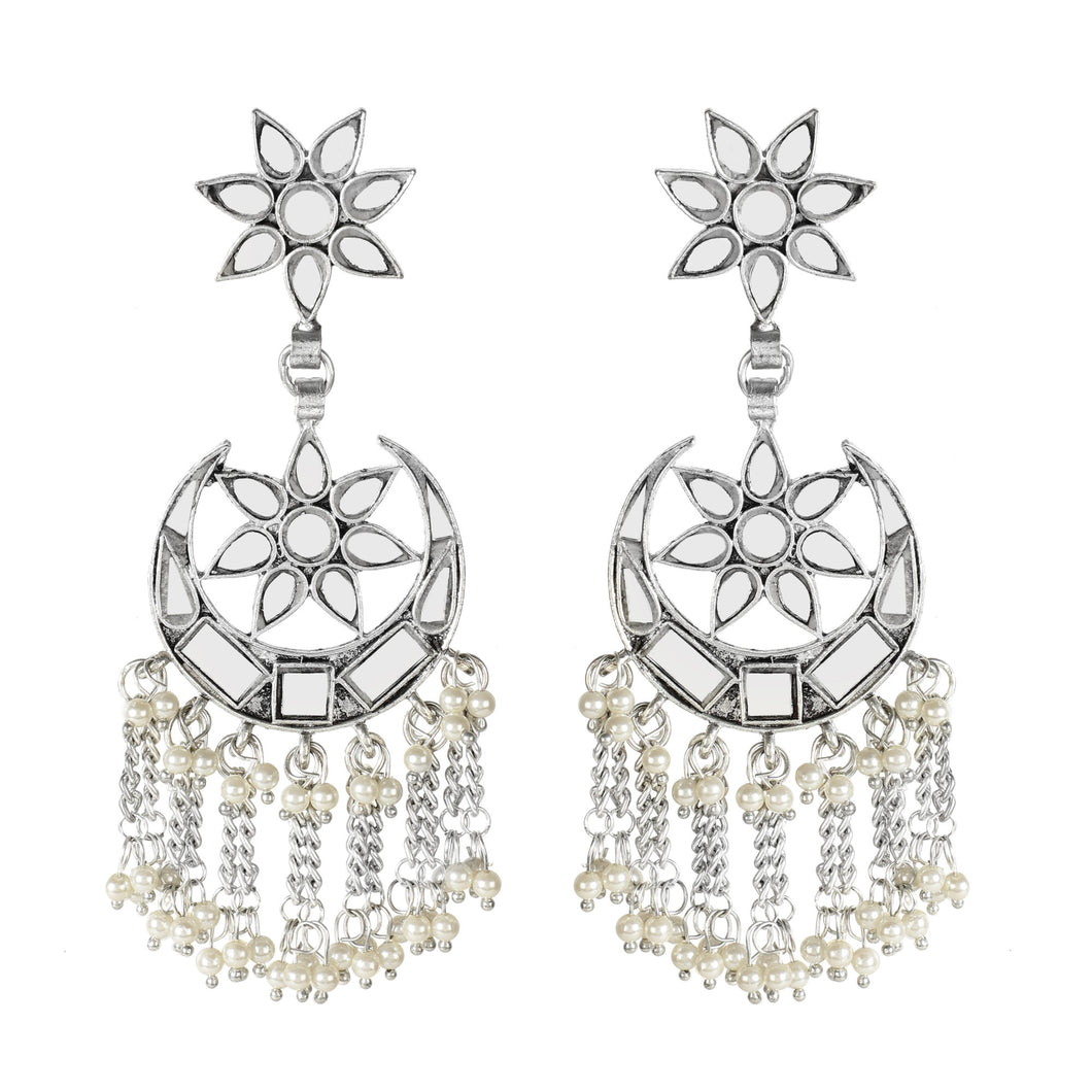 Star & Moon Silver Fringe Earrings