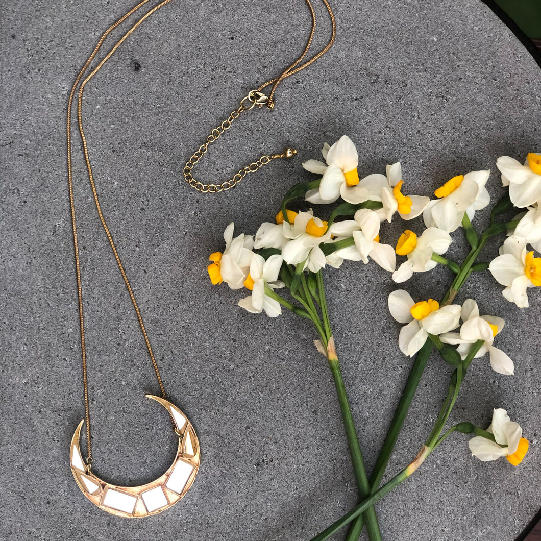 Big Half Moon Gold Necklace