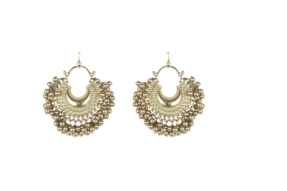 Gold Crescent Ghungroo Earrings
