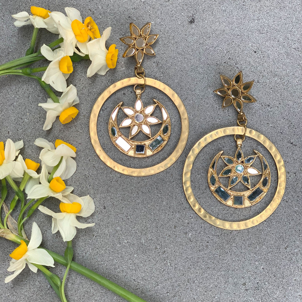 Gold Mirrorwork Loop Earrings