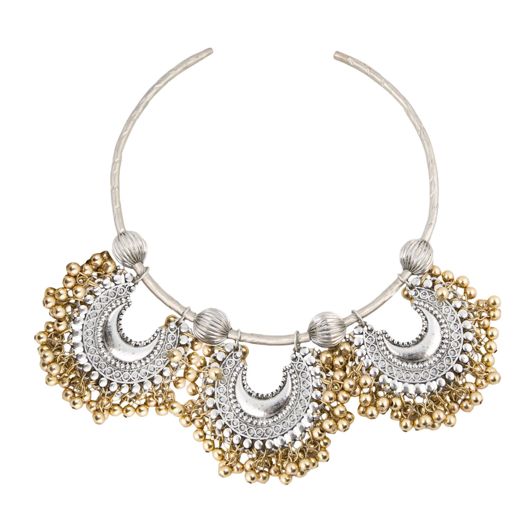 Triple Crescent Collar Necklace