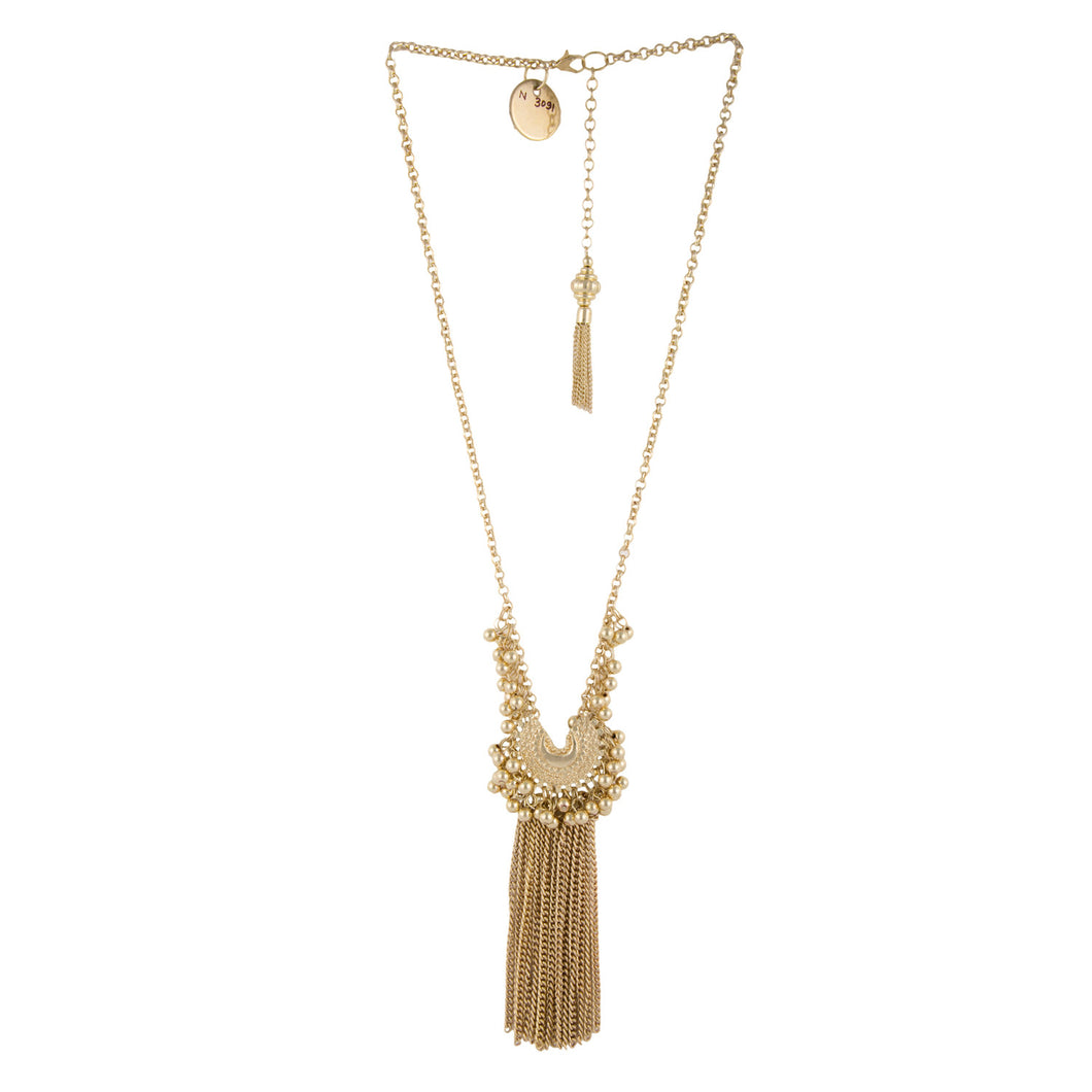 Gold Mini Crescent Fringe Necklace