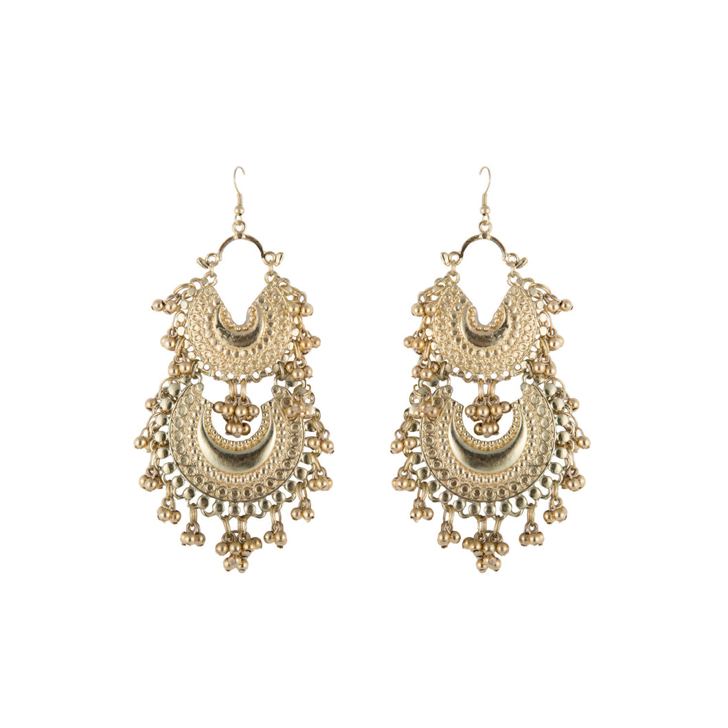 Double Crescent Gold Earrings