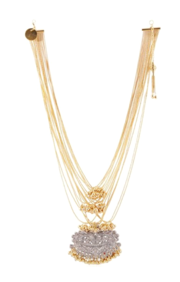 Gold Multi Chain Embossed Necklace
