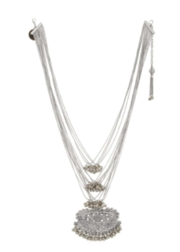 Silver Multi Chain Embossed Necklace
