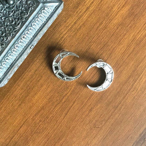Silver Small Crescent Mirror Earrings