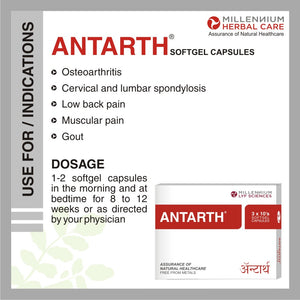 ANTARTH SGC | Clinically Proven Ayurvedic Medicine for Knee, Joint, Arthritis Pain, Gout & Flexibility Maintenance | 120 Capsules