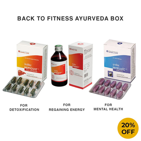 Back to Fitness Ayurveda Box (HEPTOVIT SGC 30 Capsules + INTELLEC TABLET 30 Tablets + SOMAVIT LIQUID 200 ml x 2 Bottles)