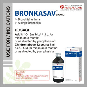 BRONKASAV LIQUID | Clinically Proven Natural Medicine for Asthma & Bronchitis, With Broad Spectrum Action | 200 ml X 3 Bottles