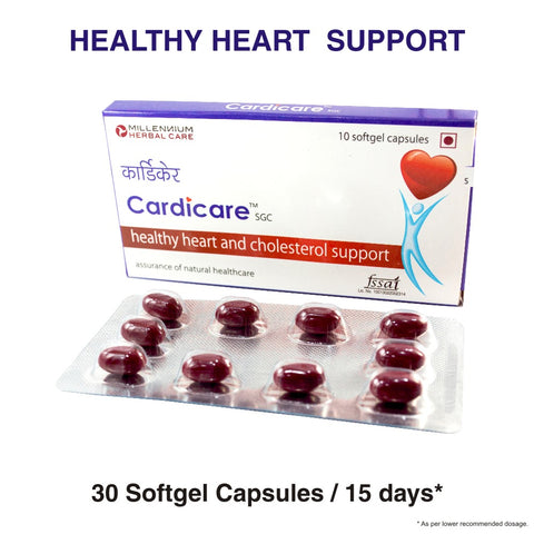 CARDICARE SGC | Natural Cardio Protective for Cholesterol control and Heart Health | 30 Capsules