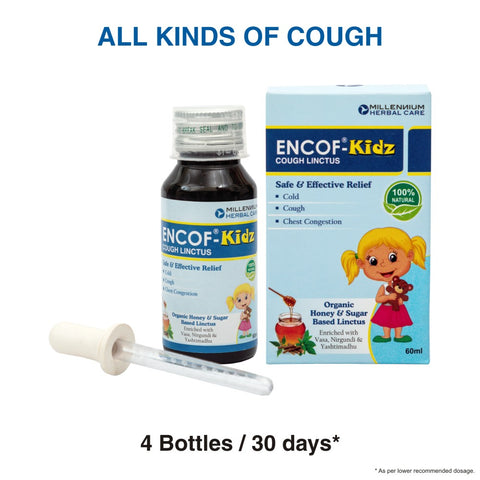 ENCOF KIDZ ORGANIC COUGH LINCTUS | 100% Natural Ayurvedic Cough Linctus for Relief from All Types of Cough for Children | 60 ml X 4 Bottles