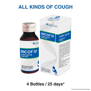 ENCOF-SF COUGH LINCTUS | 100% Natural Sugar Free Ayurvedic Cough Linctus for Relief from All Types of Cough, Sore Throat in Diabetics | 60 ml X 4 Bottles