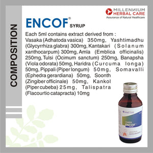 ENCOF COUGH SYRUP | 100% Natural Ayurvedic Cough Syrup for Relief from all types of Cough | 100 ml X 4 Bottles
