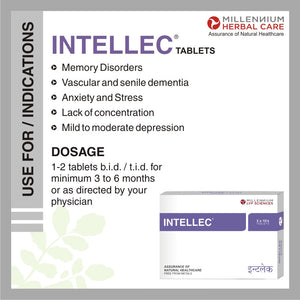 INTELLEC TABLETS | Natural & Gentle Nootropic & Cognitive Tonic to Support Brain Function | 120 Tablets