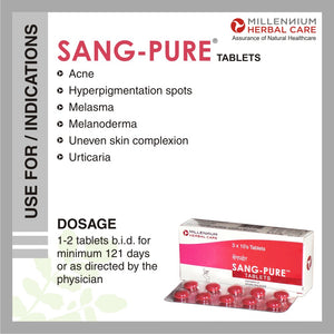 SANG-PURE TABLETS | Natural & Effective Treatment of Acne, Hyper-pigmentation and Chloasma | 120 Tablets