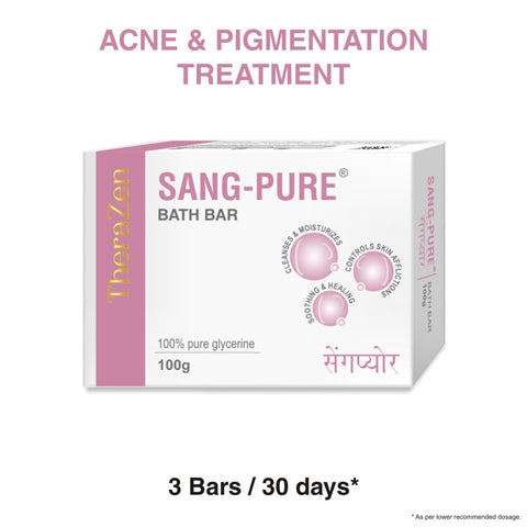 SANG-PURE BATH BAR | Ayurvedic / Herbal Anti-infective, Superior Cleansing Bathing Bar for Body Acne, Eczema, Psoriasis, Healthy Skin Maintenance | 75 gm X 3 Soaps