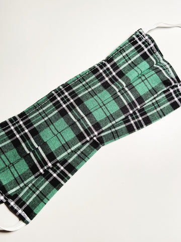 Green Plaid |CHOOSE Your Size|Pocket Face Mask w/ Filter, 100% Cotton, Reusable & Washable | 3 Layers | Made in USA
