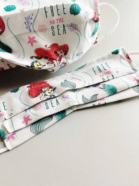 Little Mermaid |CHOOSE Your Size|Pocket Face Mask w/ Filter, 100% Cotton, Reusable & Washable | 3 Layers | Made in USA