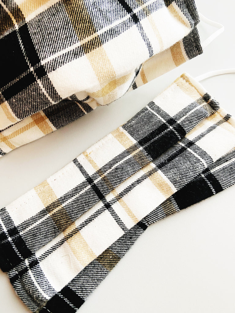 Neutral Plaid |CHOOSE Your Size| Pocket Face Mask w/ Filter, 100% Cotton, Reusable & Washable | 3 Layers | Made in USA