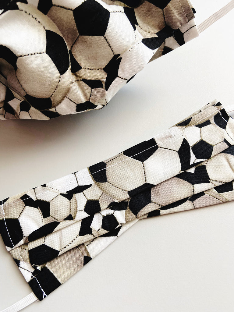 CHOOSE Your Size |Soccer| Pocket Face Mask w/ Filter, 100% Cotton, Reusable & Washable | 3 Layers | Made in USA