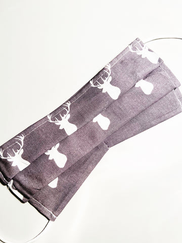 Grey Bucks |CHOOSE Your Size| Pocket Face Mask w/ Filter, 100% Cotton, Reusable & Washable | 3 Layers | Made in USA