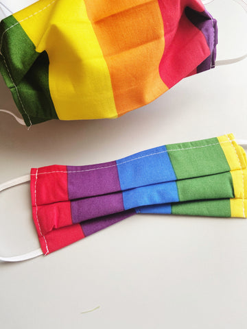 CHOOSE Your Size |Bright Rainbow| Pocket Face Mask w/ Filter, 100% Cotton, Reusable & Washable | 3 Layers | Made in USA
