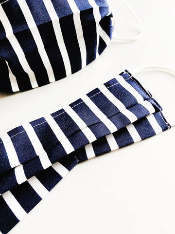 Navy Stripe |CHOOSE Your Size|Pocket Face Mask w/ Filter, 100% Cotton, Reusable & Washable | 3 Layers | Made in USA