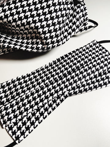 Houndstooth |CHOOSE Your Size| Pocket Face Mask w/ Filter, 100% Cotton, Reusable & Washable | 3 Layers | Made in USA