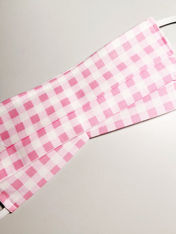 Pink Gingham |CHOOSE Your Size| Pocket Face Mask w/ Filter, 100% Cotton, Reusable & Washable | 3 Layers | Made in USA