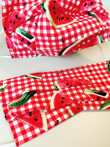 CHOOSE Your Size |Watermelon Thump| Pocket Face Mask w/ Filter, 100% Cotton, Reusable & Washable | 3 Layers | Made in USA