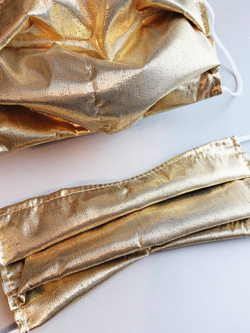 Holiday Gold |CHOOSE Your Size| Pocket Face Mask w/ Filter, 100% Cotton, Reusable & Washable | 3 Layers | Made in USA